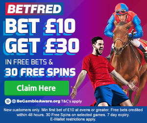 Betfred free bet: Bet £10 get £30 in free bets plus 30 free spins